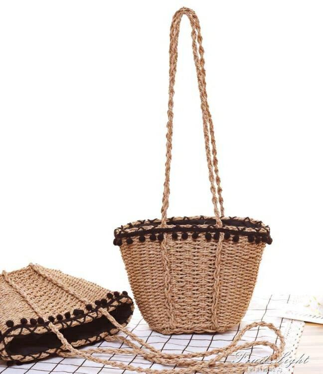 編織草編包簡約休閒風 藤編沙灘包歐美風復古單肩草包女包 6