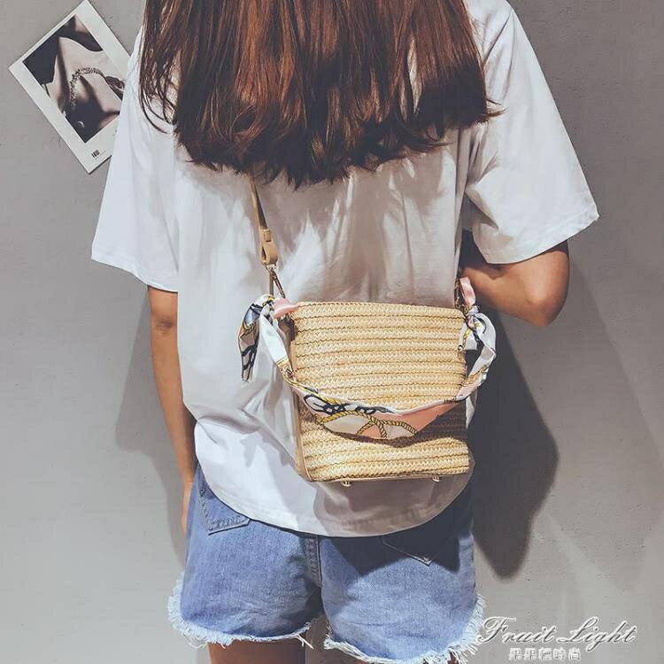 上新小包包女新季ins簡約單肩斜挎編織包藤編沙灘草編包 0