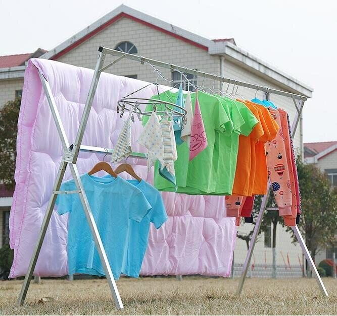 曬衣架-晾衣架落地折疊雙桿式晾衣桿陽臺曬衣桿室內X型曬衣架涼衣架