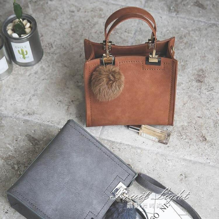 女包包新款韓版時尚復古百搭休閒托特包手提包單肩側背包小包 【嘻哈戶外】
