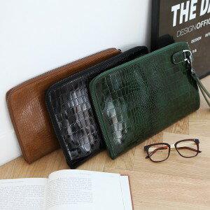 <br/><br/> MiYA 義大利真皮小牛皮鱷魚紋男用手拿包 咖啡墨綠黑色<br/><br/>