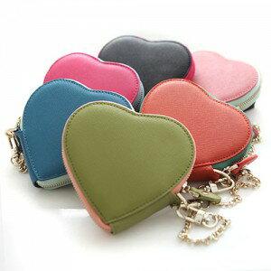 正韓國真皮雙色女用皮夾愛心型零錢包^(防刮牛皮^) 粉紅玫紅橙綠藍黑色