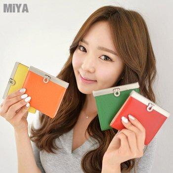 正韓國真皮糖果女用皮夾短夾(牛皮) 柔粉淡藍黃色橙玫桃紅綠色 現貨