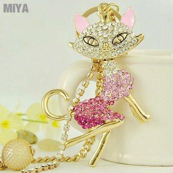 韓國貓女造型鑲貼水鑽鑰匙圈包包吊掛飾配件(捷克鑽) 粉紅 現貨