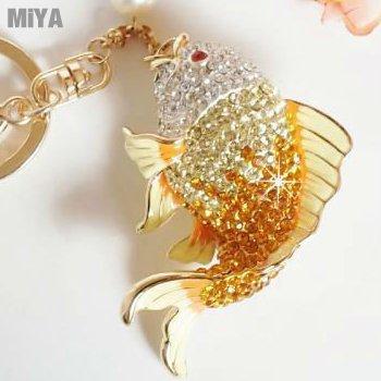 韓國年年有魚可愛造型水鑽鑰匙圈包包吊掛飾(捷克鑽) 粉紅金黃 現貨