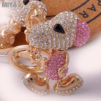 Snoopy 韓國史努比捷克水鑽包包掛飾鑰匙圈扣 粉紅 現貨