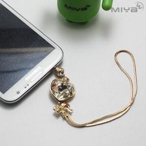 【Miya米亞】愛心流蘇水鑽耳機防塵塞 (手機吊飾 掛飾 3.5m耳機 閃亮 手機塞 平板 配件 金色)