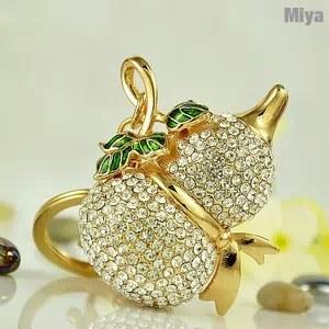【Miya米亞】聚寶葫蘆水鑽包包掛飾鑰匙圈 (可愛造型 飾品 佩件 佩飾 吊飾 現貨 精品 鑰匙釦)