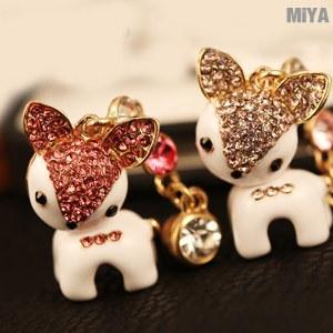 【MiYA米亞】小鹿水鑽手機耳機防塵塞(施華洛世奇)(耳機孔塞 可愛造型 配件 手機吊飾掛飾 粉紅 現貨)