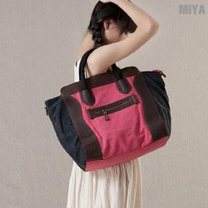 MiYA Sanji 真皮帆布休閒米亞女用肩背手提包(大款)(斜背 手拿 萬用 百搭 通勤 電腦 公事包 玫紅淡藍)