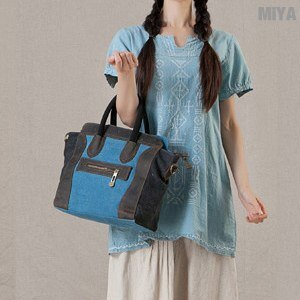 MiYA Sanji 真皮帆布休閒米亞女用肩背手提包(小款)(斜背 側背 手拿 百搭 通勤 電腦 公事包 玫紅淡藍)