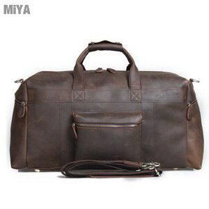 歐美真皮復古中性休旅包行李箱包旅行袋斜背包(瘋馬牛皮)男包女包棕色