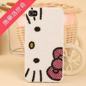 【MIYA米亞】iPhone 4s/4 Hello Kitty 凱蒂貓 手機水鑽珍珠殼(施華洛世奇) (美容 貼鑽 bling 亮 閃 手機殼)
