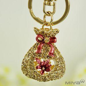 【Miya米亞】小荷包水鑽鑰匙圈包包掛飾(可愛造型 飾品 佩件 首飾配件 吊飾 精品 鑰匙釦 現貨)