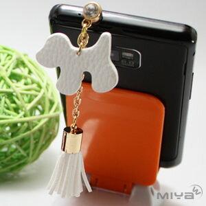 【MIYA米亞】狗狗 韓國流蘇平板手機吊飾/耳機孔/防塵塞 (可愛造型 小狗 飾品 水鑽 吊飾 掛飾)