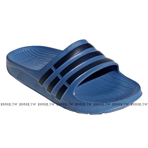 Shoestw【CP9383】ADIDAS DURAMO SLIDE K 拖鞋 一體成型 藍深藍條 大童 2