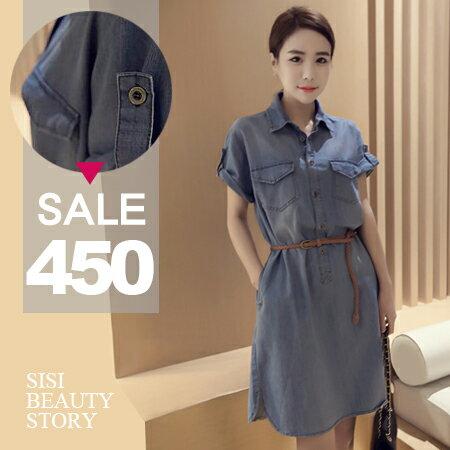 SISI【D6159】單寧時尚休閒百搭翻領雙口袋單排釦反折短袖高腰牛仔丹寧連身裙洋裝