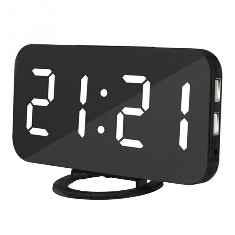 鏡面LED手機USB充電電子鬧鐘 自動調節亮度 數位創意鍾 智慧鬧鐘 貪睡鐘 化妝鏡時鐘【ZI0110】《約翰家庭百貨