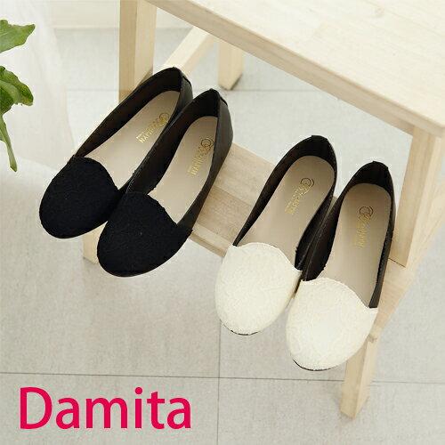 樂福鞋~Damita 蕾絲拼色平底樂福包鞋 ^( 2 色 ^) ~現  預~