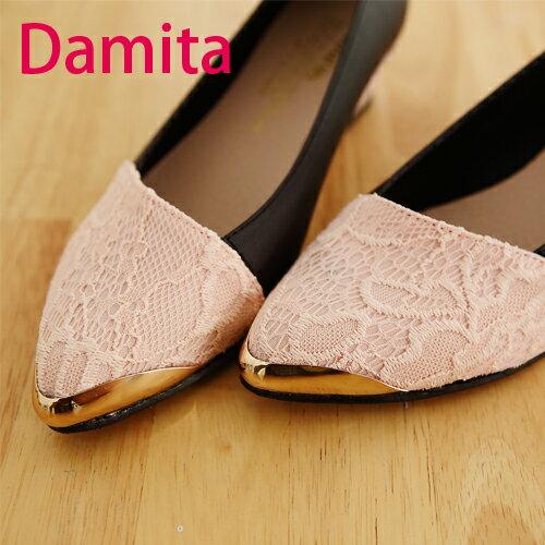 楔型尖頭鞋~ Damita 緹花蕾絲尖頭楔型鞋 ^( 2色 ^) 現 預