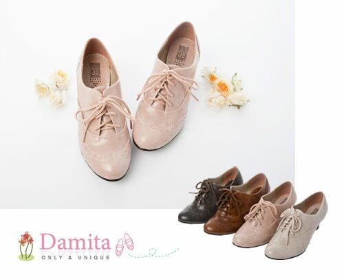 牛津鞋 ~ Damita 英倫風 雕花牛津跟鞋 ^( 2色 ^) ~  好康折扣