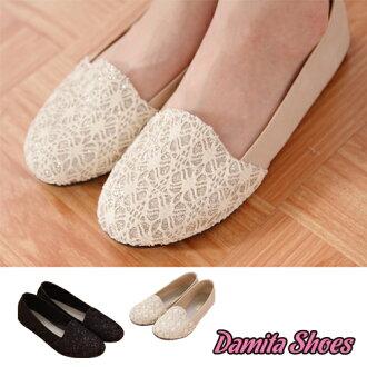Damita  蕾絲金蔥拼接造型平底樂福鞋 ( 2 色 ) 【現 + 預】