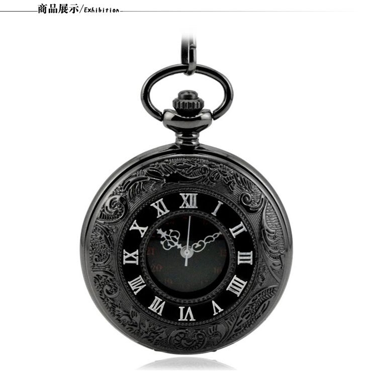 羅馬雙顯翻蓋鏤空複古項鏈機械懷錶