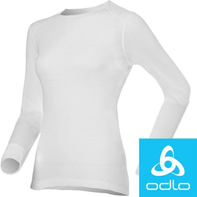 【【蘋果戶外】】odlo 152021 女圓領 白『送polartec手套』瑞士 機能保暖型排汗內衣 衛生衣 發熱衣 保暖衣 長袖