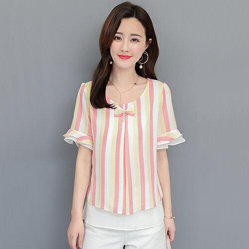 *ORead*韓版喇叭袖寬鬆顯瘦雪紡衫(4色M~4XL) 2