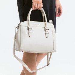 【le Lufon】米白色皮革雙拉鍊三層收納實用手提兩用包(S) 手提包/斜背包/側背包/單肩包(粉紅/米白二色)
