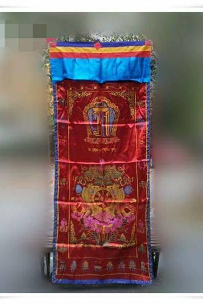 藏式門簾 避煞招吉 十相自在 八吉祥 吉祥咒 (二層布) 風水簾 喜氣洋洋