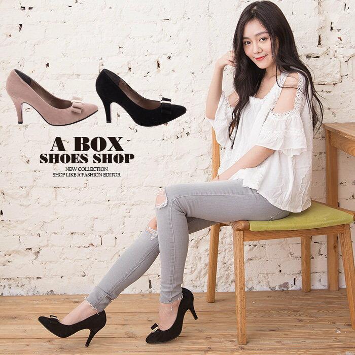 【AA930】MIT台灣製 嚴選氣質蝴蝶結質感絨布 8.5CM細高跟鞋 尖頭包鞋 2色
