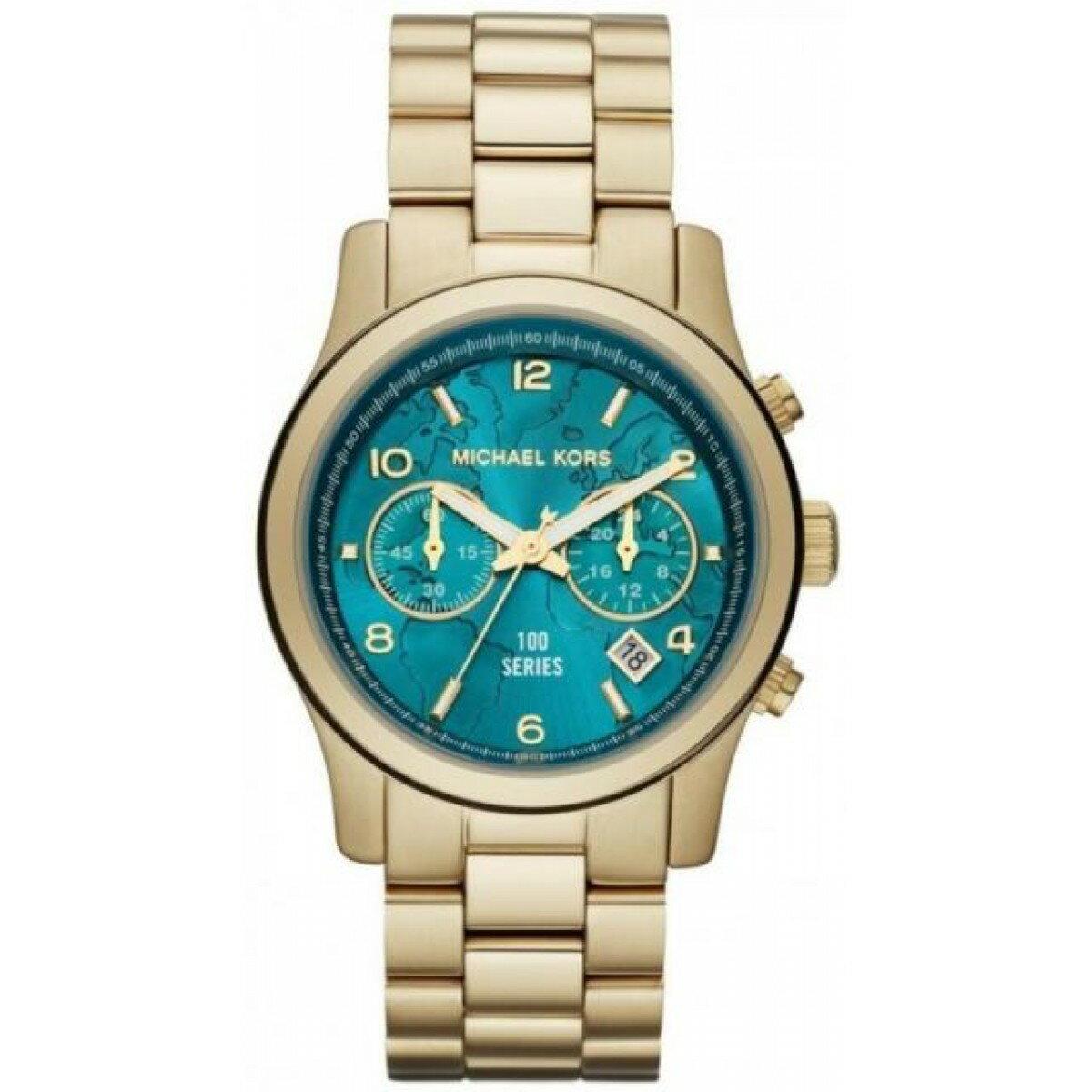 Outlet 正品代購 Michael Kors MK 綠色地球浮雕雙眼計時 手錶腕錶 女錶 38mm MK5815