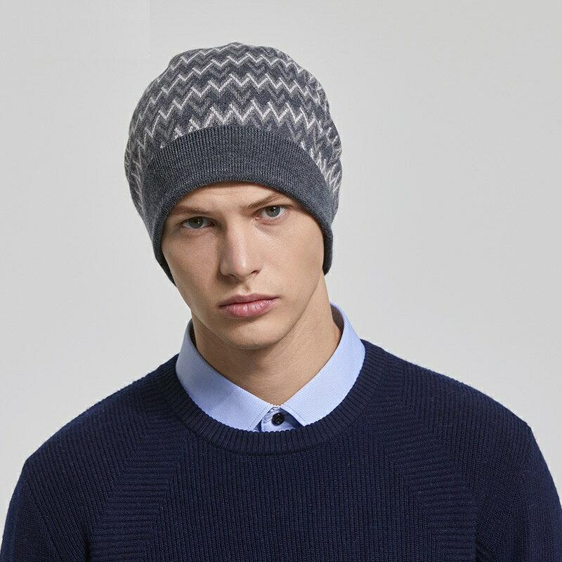 毛帽羊毛針織帽-W紋提花加厚捲邊男帽子3色73wj37【獨家進口】【米蘭精品】 2