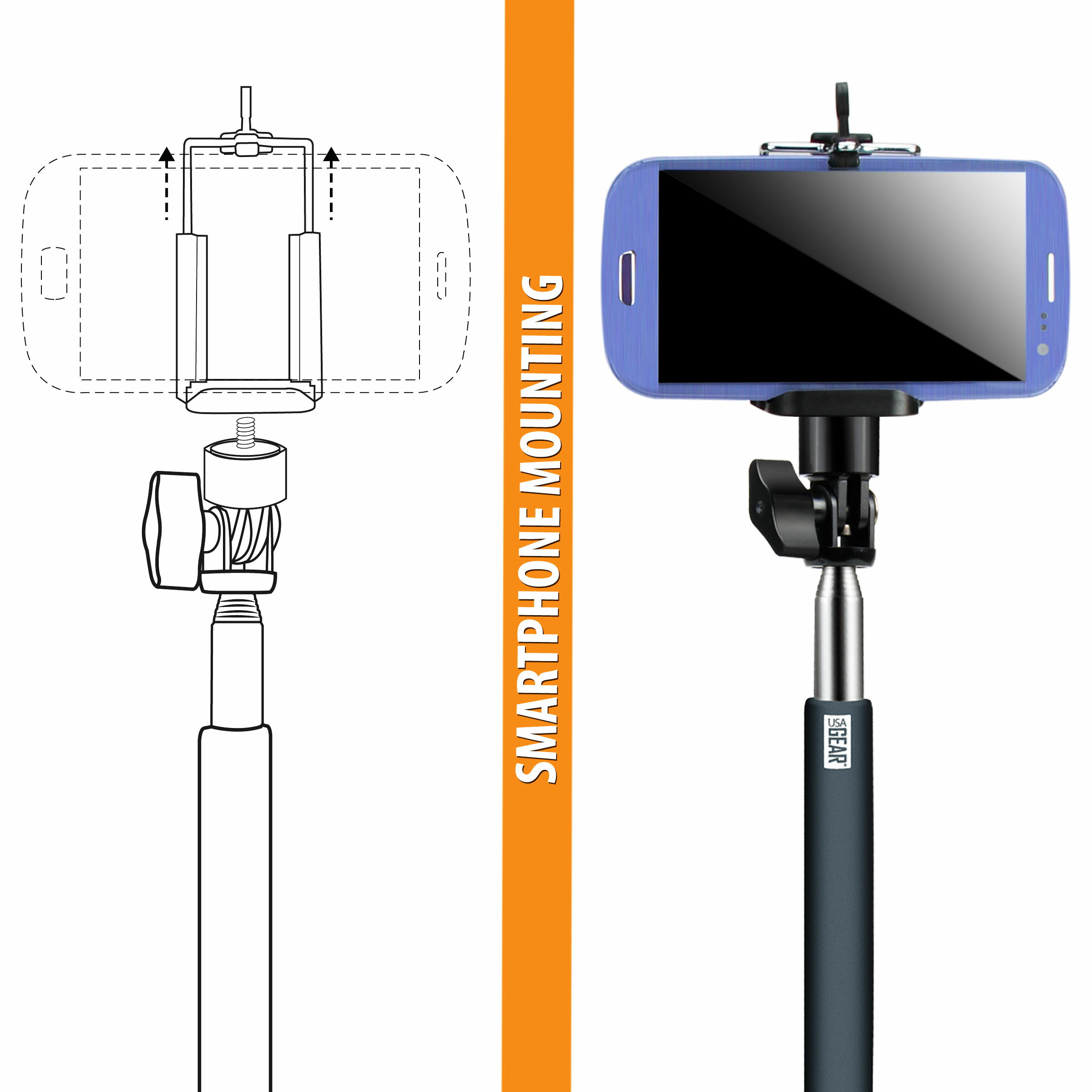 USA Gear Telescopic Monopod with Hand Grip and 180-Degree Swivel Mount for GoPro & More Action Cams 5