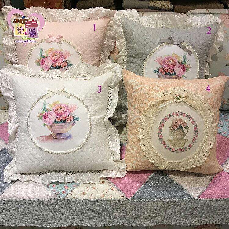 45x45 CM 珍珠項鍊可愛公主蕾絲邊 全棉绗縫腰枕靠枕套 宮廷風抱枕套 枕頭套 ~加購