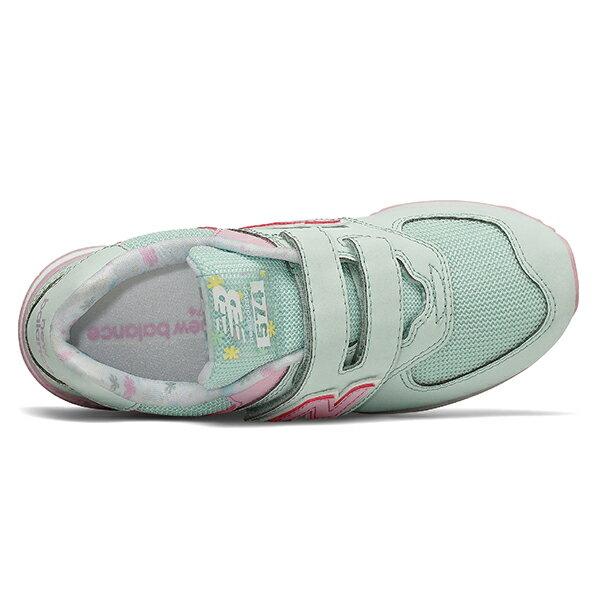 Shoestw【YV574KCS】NEW BALANCE NB574 運動鞋 黏帶 中童鞋 Wide 淺綠粉 小花 2