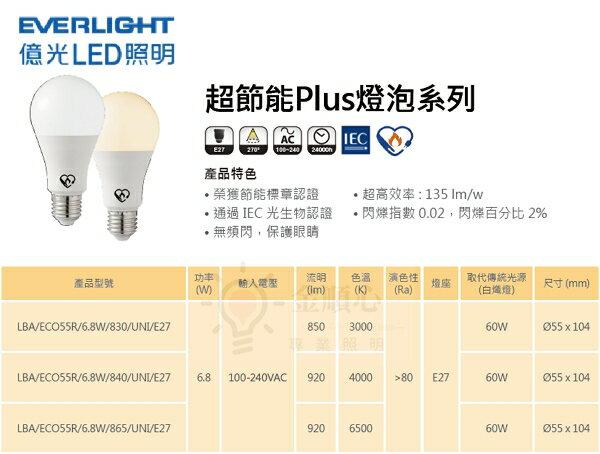 ☼金順心☼專業照明~億光 EVERIGHT LED 超節能 Plus 6.8W 燈泡 保固三年 節能標章