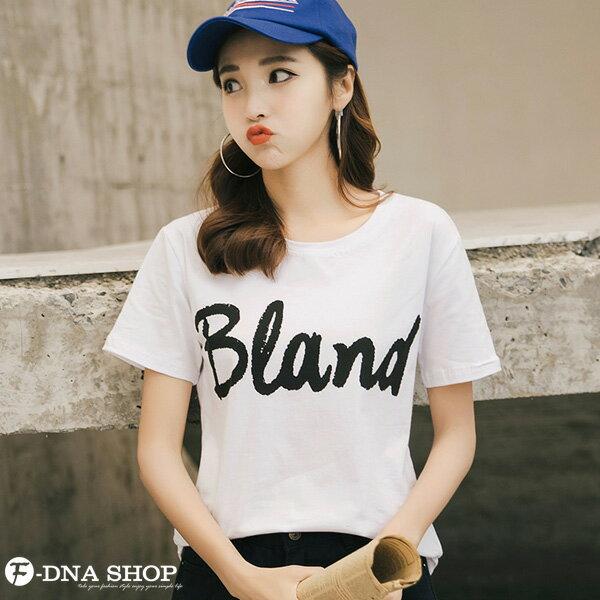 F-DNA★BLAND英文印花圓領短袖上衣T恤(2色-M-2XL)【ET12695】 7