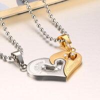 情人項鍊推薦到心形對鍊 鈦鋼項鍊 情侶對鍊 白鋼項鍊 西德鋼項鍊 愛心項鍊 情人節 禮物 沂軒精品 F0124就在沂軒精品推薦情人項鍊