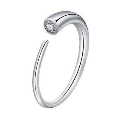 925純銀戒指鋯石開口戒-月牙頭部鑲嵌聖誕節情人節生日禮物女飾品73qj12【獨家進口】【米蘭精品】