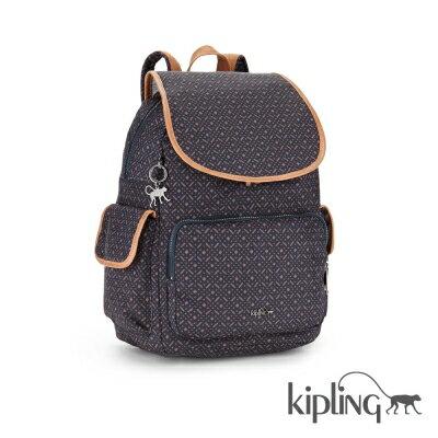 Kipling 後背包 深藍澄色幾何圖-大