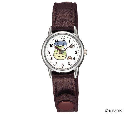 【真愛日本】 6042000017 牛皮帶咖圓型銀錶-灰龍貓撐傘 龍貓TOTORO豆豆龍 手錶 鐘錶 日本帶回