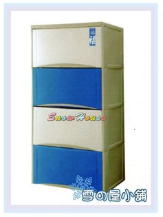 ╭☆雪之屋居家生活館☆╯AA546-15TWFU04福氣高昇四層收納櫃(白藍)置物櫃展示櫃抽屜櫃收納箱置物箱