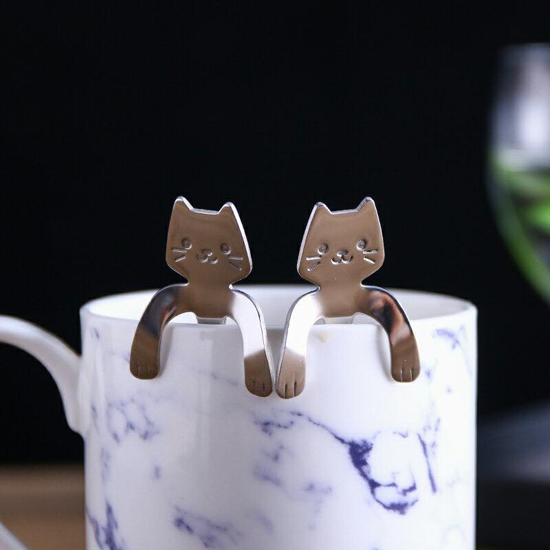 居家廚房餐具 創意可愛咖啡勺 小湯匙 攪拌匙 貓咪304不鏽鋼 婚禮小物/單售