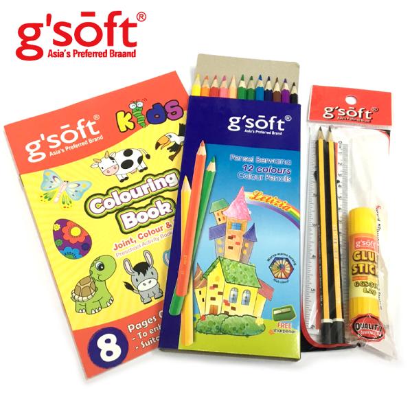 《開學季》g'SOFT塗鴉派繪畫6件組合包(12色彩色鉛筆+筆削+2B鉛筆+繪畫本+15CM直尺+口紅膠)
