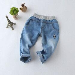 小熊刺繡鬆緊牛仔長褲 薄款 牛仔褲 橘魔法Baby magic 現貨 童裝