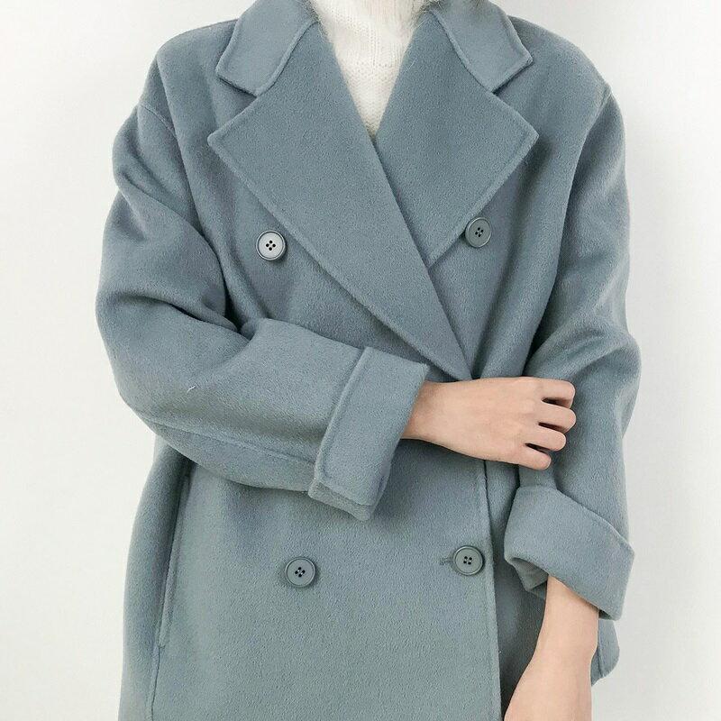 毛呢大衣羊毛外套-短版純色翻領雙排扣女外套4色73wb19【獨家進口】【米蘭精品】 2