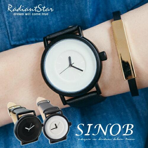香港SINOBI極簡無印純色 絲綢緞面內真皮錶~WSI9372G~璀璨之星~