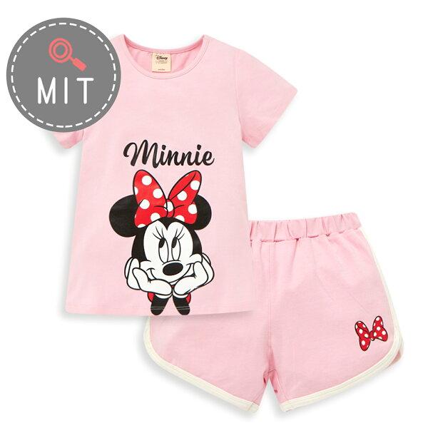 Disney米妮系列運動甜心上衣短褲套裝-粉紅